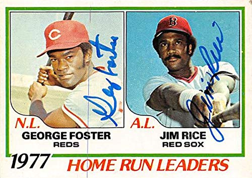 George Foster & Jim Rice autographed Baseball Card (Reds & Red Sox) 1978 Topps Home Run Leaders #202 - George Autographed Baseball