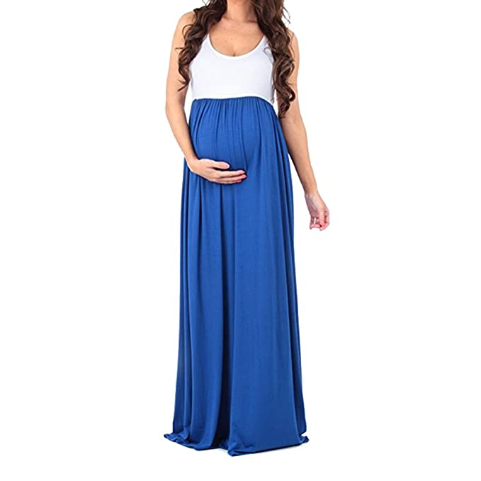 S-XL Vestido Maxi Sin Mangas De Boho Más El Empalme De Maternidad Embarazadas Largo