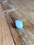 """Aquamarine Necklace 16"""" Sterling Silver Chain"""