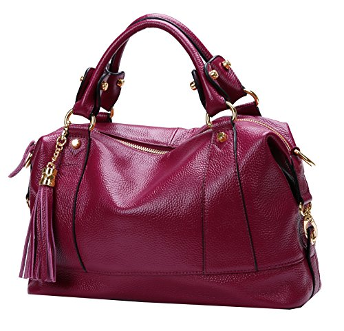 Heshe Leather Shoulder Bag Womens Tote Top Handle Handbags Cross Body Bags for Office Lady (Purple (Designer Handbags For Less)