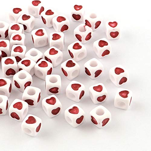 Beadthoven 100-Piece 7x7x7mm Opaque Acrylic Heart Beads European Large Hole Cube Beads with Red Heart for Jewelry Making Handmade Accessories Kid's Handcrafts Finding Supplies ()