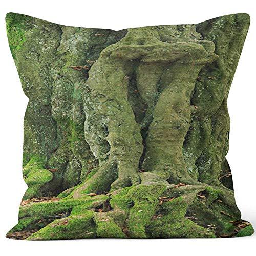 Nine City Gnarled Tree Trunk Sack Burlap Pillow,HD Printing Square Pillow case,40