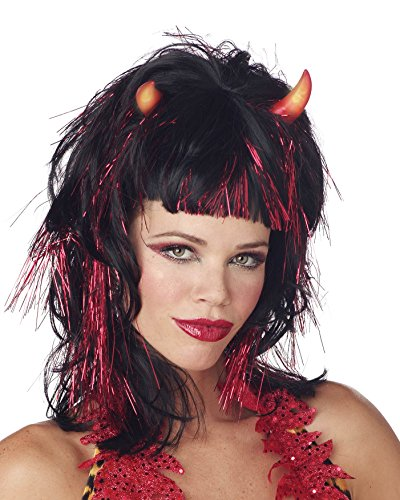 [Wig Demonica Devil Light Up Red or Black Halloween Color: Black] (Sexy Devil Costumes Ideas)