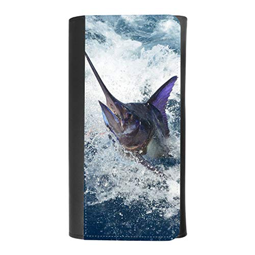 (BLUE MARLIN FISH JUMPING HIGH) women's Patterned Leather Buckle Trifold Wallet Bag Pouch Holster With Credit Card Holder insurance for smartphones - Jumping Fish Buckle