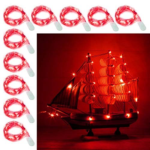 [10-Pack] LED String Lights, 6.6FT LED Moon Lights 20 Led Micro Lights On Silver Copper Wire (Batteries Include) for DIY Wedding Centerpiece, Table Decoration, Party (Red)