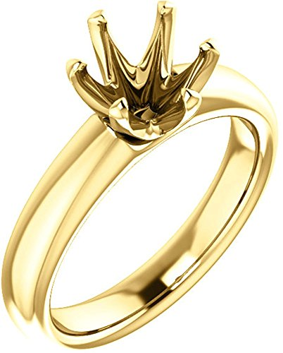 Unset Ring 6-Prong Classic Mounting in 14 Karat Yellow Gold for Round Shape Gemstone Sized 7.40 mm, Ring Size 8 ()