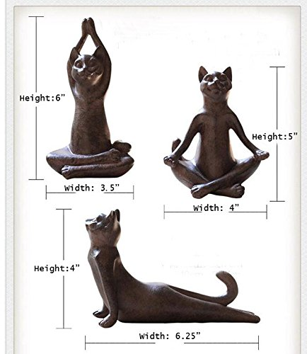 Set of 3 Rusty Brown Vintage Rustic Decorative Resin Animal Cat Yoga Pose Statue, Kitty Yoga Figurine Statue, Meditation Room Yoga Figurine, Yoga Pose Statue, Yoga Sculpture