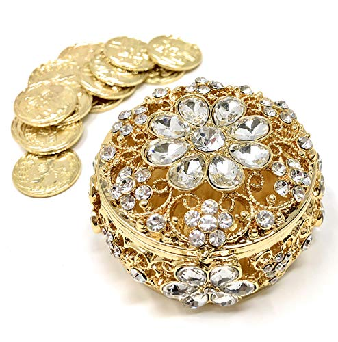 CB Accessories Wedding Unity Coins - Arras de Boda - Round Shaped Flower Box with Decorative Rhinestone Crystals 16 (Gold)
