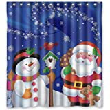 "Unique Custom Merry Christmas Santa Claus and Snowman Waterproof fabric Polyester Shower Curtain 66""X72""-Bathroom Decor"