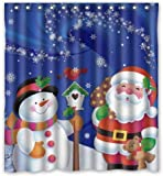 Christmas Bathroom Decor Unique Custom Merry Christmas Santa Claus and Snowman Waterproof fabric Polyester Shower Curtain 66