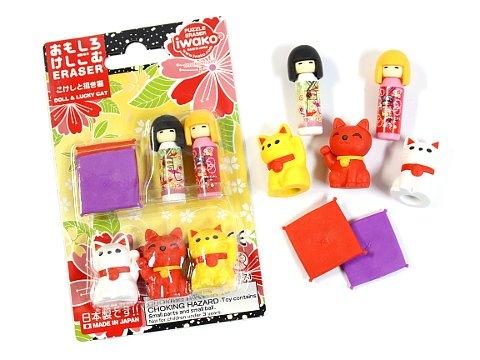 Iwako 7pcs Japanese Kokeshi Dolls, Maneki Neko with Tatami Pillows Erasers Blister Set