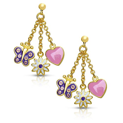 Jewelry for Girls - Charms Dangle Earrings - Gold Plated with Pink and Purple Enamel - By Lily Nily