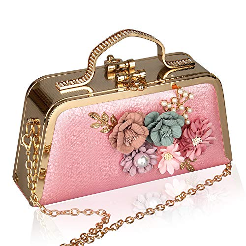 - Pink Evening Clutch Bags Metallic Evening Clutch Purse Flower Leather Phone Handbag with Shoulde Strap