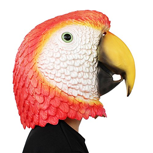 PartyCostume - Red Parrot Mask - Halloween Costume Party Latex Animal Bird Head -