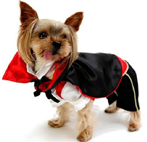 Meeyou Halloween Vampire Pet Costume for Cat & Dog Cosplay, (Cat Vampire Halloween)