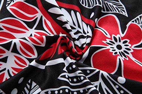 Kemrrey - Traje de una pieza - Floral - Sin mangas - para mujer Red Leaves