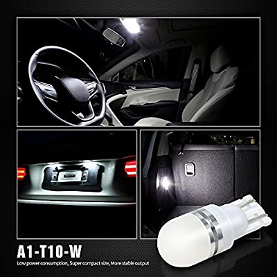 SIRIUSLED Super Bright 1 W LED Bulbs with 360 Degree Projection for Car Interior Lights Gauge Instrument Panel Dome Map Side Marker Door Courtesy License Plate T10 168 192 194 2825 W5W White: Automotive