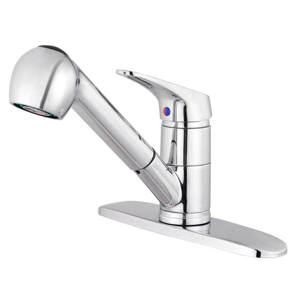 TimmyHouse Kitchen Faucet Pull-Out Spray Swivel Spout Sink Single Handle Polished Chrome