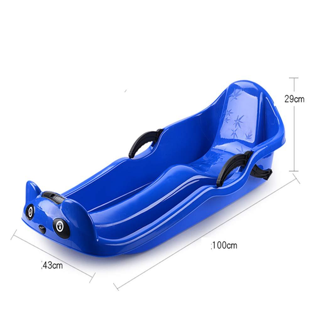 ZYT Invierno Doble Tobog/án Trineo Asiento del Tablero Resistente Al Frio -40 /° Espesamiento Trineo Adecuado para Adultos Ni/ños 100CM con Frenos ,Blue