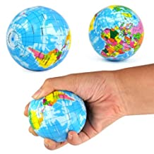 Dcolor NEW WORLD MAP FOAM EARTH GLOBE STRESS RELIEF BOUNCY BALL ATLAS GEOGRAPHY TOY
