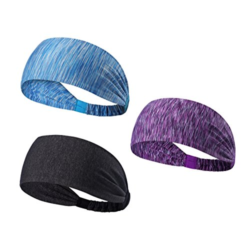 We Move Headbands for Men Women and Girls 3PCS/6PCS Stretchy Sweatband for Out Door Sports/Running/Yoga/Fitness/Cycling (3PCS-Stripe blue/Stripe purple/Deep gray)