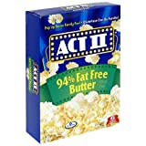 ACT II Popcorn, 94% Fat Free Butter Flavored, 6-Count Boxes (Pack of 6)