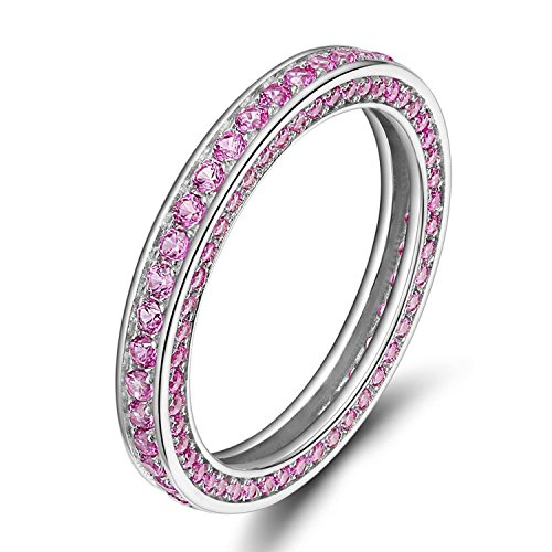 Zirconia Pink Ring Cubic - SOMEN TUNGSTEN Womens Sterling Silver Eternity Rings Pink Cubic Zirconia Wedding Engagement Band