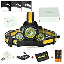 Boruit Upgraded RJ-3000 Plus head lamp LED Micro USB 4 Modes Rechargeable Zoomable Headlamp with 18650 Batteries