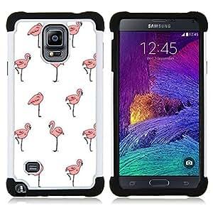 """Samsung Galaxy Note 4 IV / SM-N910 - 3 en 1 impreso colorido de Altas Prestaciones PC Funda chaqueta Negro cubierta gel silicona suave (Flamingo Blanca Wallpaper Limpio Rosa"""")"""