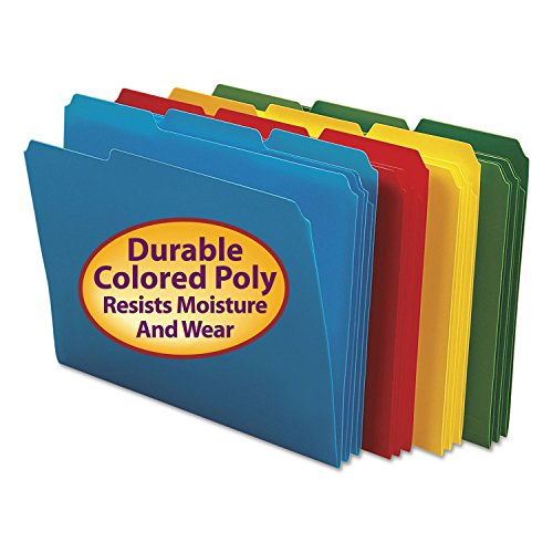 (Smead 10500 Waterproof Poly File Folders 1/3 Cut Top Tab Letter Assorted 24/Box)