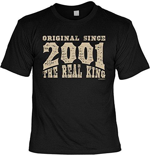 T-Shirt - Original Since 2001 - The Real King - lustiges Sprüche Shirt als Geschenk zum 16. Geburtstag