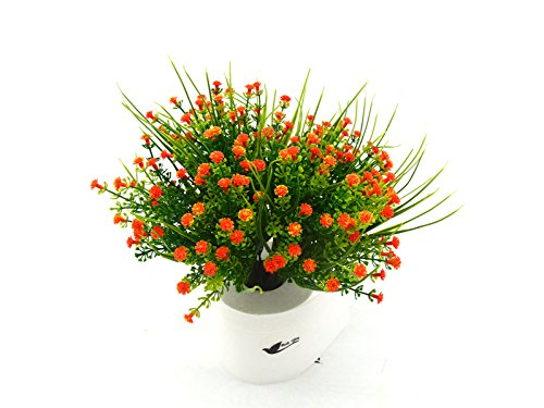 Bird Fiy 4 Bundles Artificial Gypsophila Flower Wedding Home Decor Gift(Orange)
