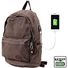 BUG Washing Retro Laptop Canvas Backpack Back Anti-Theft Travel College Outdoor USB Charging Men Women Backpack Schoolbag Computer Notebook Bags