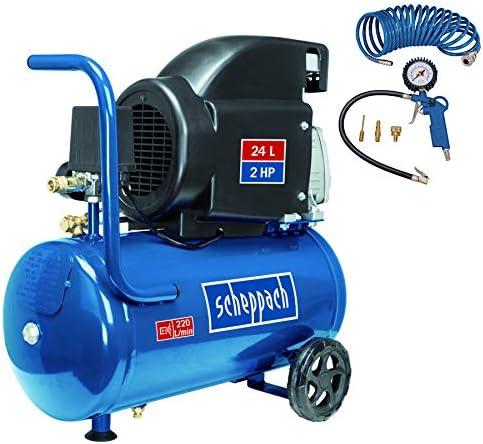 Scheppach Set Hc26 Druckluft Kompressor 24 Liter Kesselvolumen 8 Bar Druck Inkl 5m Spiralschlauch Und Reifenfüllgerät Blau 5906135917 Baumarkt