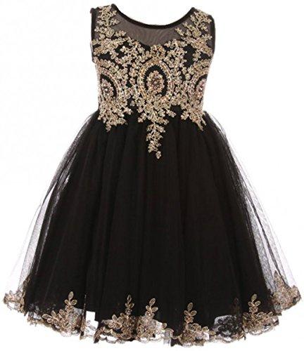 Big Girls' Dress Sparkle Rhinestones Pageant Wedding Flower Girl Dress Black Size 12 (M10BK49)]()