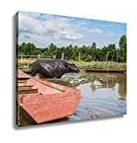 Ashley Canvas, The Domestic Buffalo Hides In River Thailand, Home Decoration Office, Ready to Hang, 20x25, AG6343984