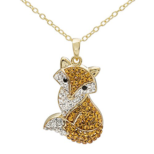 (Crystalogy Women's Sterling Silver Swarovski Crystal Fox Animal Pendant Necklace, 18