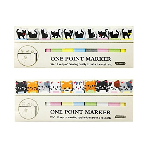 SMYLLS Cute Cat Sticker Bookmark Flag Tab Sticky Notes, Set of 2 (Multicolor)