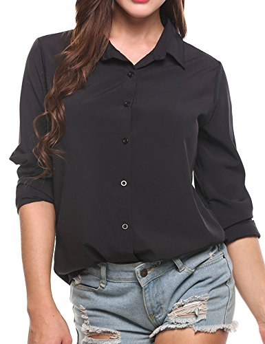Zeagoo Women's Long Sleeve Casual Polka Dot Button up Office Blouse Shirt Top, Solid Black, XX-Large by Zeagoo (Image #4)