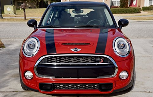 Mini Bonnet Stripes - The Pixel Hut gs00148 Black Hood Stripes for MINI Cooper and S Hard Top F56 (2014 - Present)