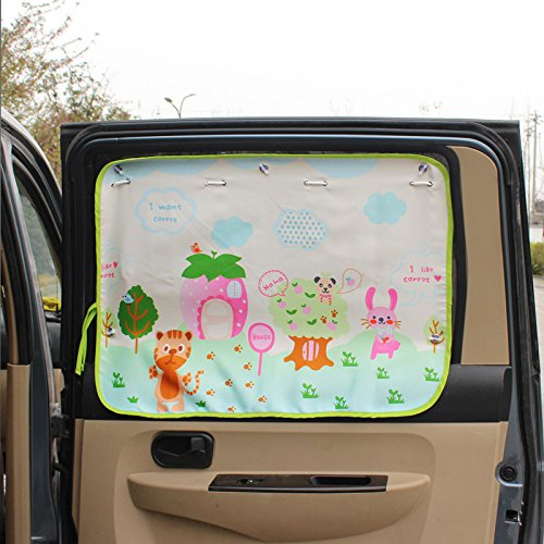 HomDSim Universal Car Auto Window curtain Valance Sunshade Drapes With Sucker Suction Cup Cartoon pattern For Kid Baby Child 20x27.5 inch (Tiger)