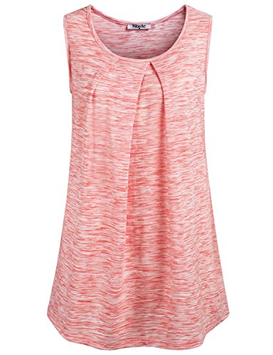 Shirts for Women,Hibelle Ladies Scoop Neck Sleeveless Tunic Draped Cute Summer Casual Basic Flows Shell Tank Top Watermelon Red Medium