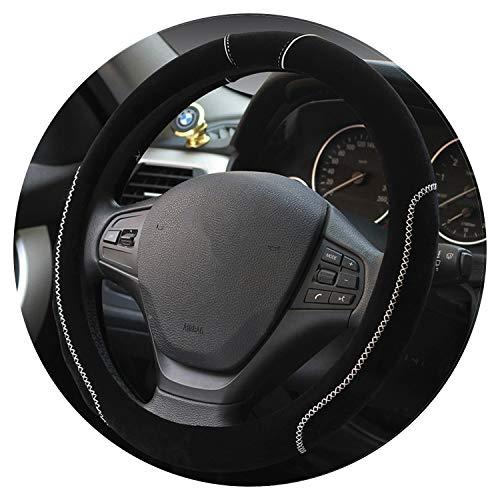 Black Winter Warm Plush Cover Car Steering Wheel Cover Universal Soft