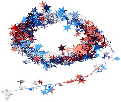 Beistle 50651-RSB  Gleam 'N Flex Star Garland, 25-Feet, (Red White And Blue Garland)