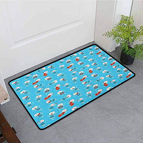 Angel Thin Door mat Music Angels Playing Violin Flute Kazoo Saxophone Trumpet Elf Harp Cello Fantasy Environmental Protection W35 x L59 Blue Red White ()