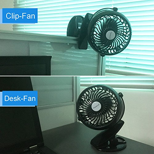 timeled rechargeable 2600mah battery operated fan clip on desk fan 59 inch usb cable quiet. Black Bedroom Furniture Sets. Home Design Ideas