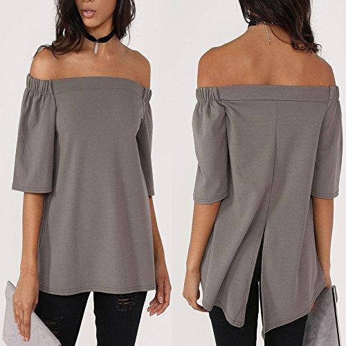 La camisa ocasional de la cintura floja plana del polyster de la manga del hombro de las mujeres remata la blusa Gray