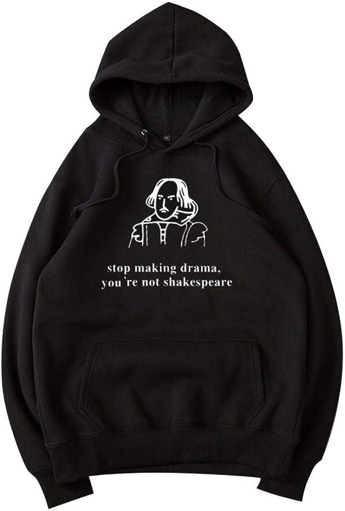 JURTEE Donna Felpa con Cappuccio Manica Lunga Sciolto Pullover Autunno Hoodie con Logo Shakespeare Grafico E Letterale Sweatshirt
