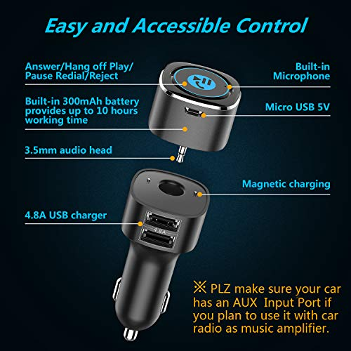 Receptor Bluetooth para automóvil. Kit de manos libres Bluetooth 4.2 para automóvil / Adaptador de audio auxiliar para automóvil Bluetooth con cargador dual de puerto USB 2.4. Kit inalámbrico para aut