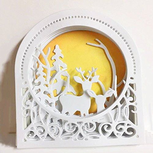 Beautyonline Christmas Deer Cutting Dies Handmade DIY Stencils Template Embossing for Greeting Card Art Craft Gift(H02) by Beautyonline (Image #1)